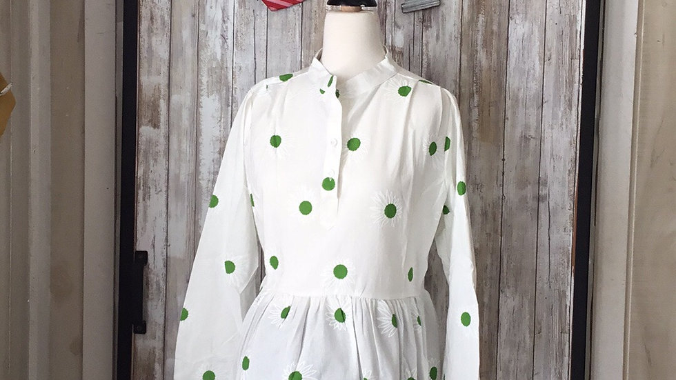 Cotton/Linen Blend Daisy Printed 3/4 Sleeves With Gathered Waist-Tie Back (XXL)