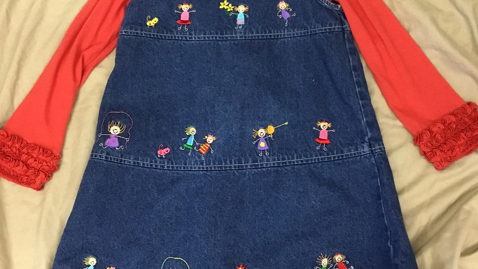 We The People Denim Jumper (paired with Ruffle Butts Red Shirt)