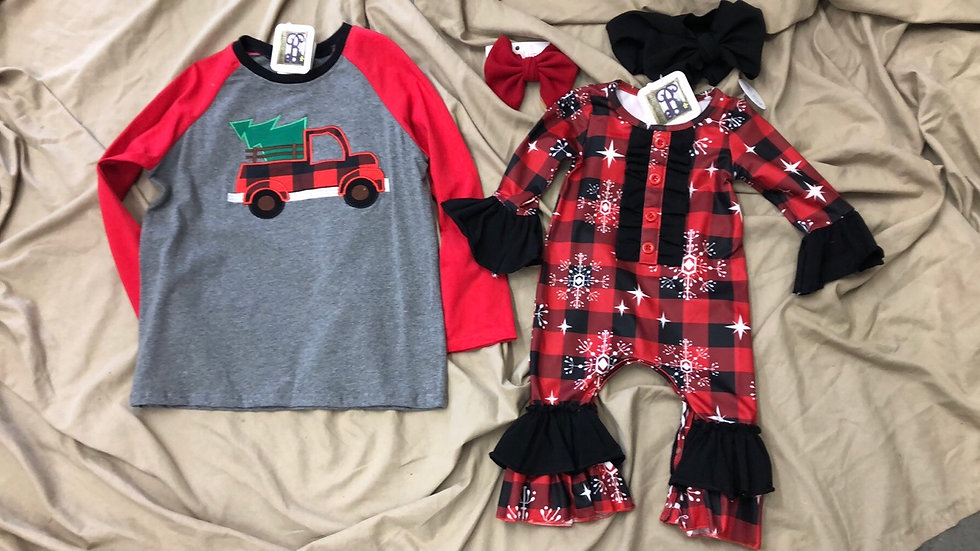 Snowflake Buffalo Plaid Onsie