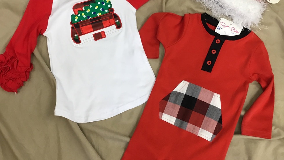Ruffle Butts Red Plaid Deer Body suit