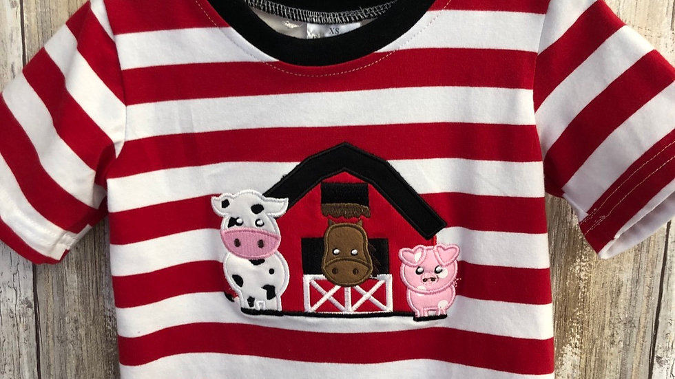 Boys Stripe Farm Appliqué