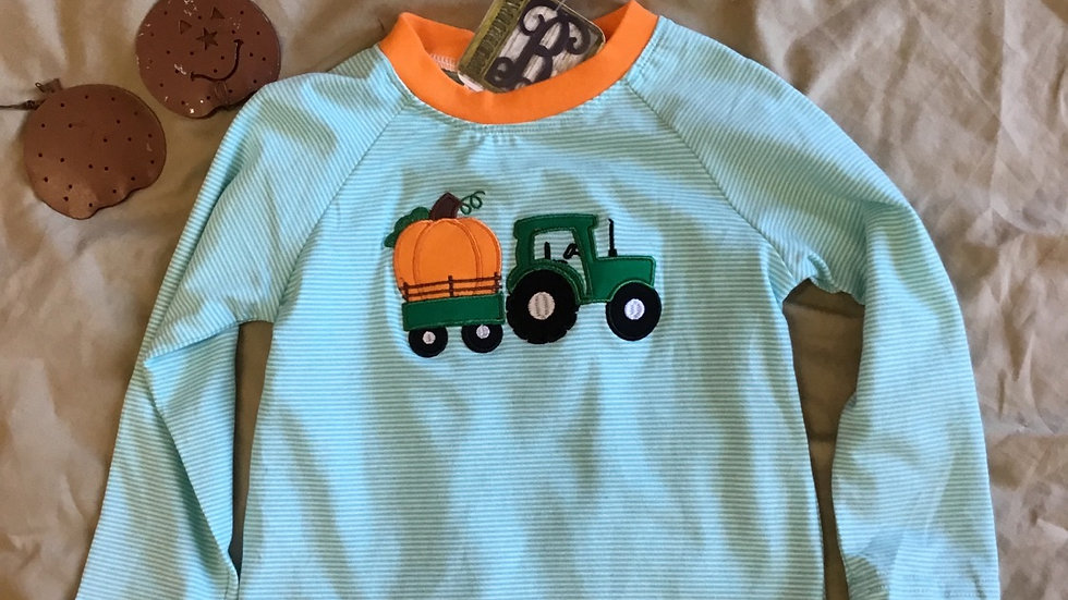 Striped Pumpkin and a Tractor