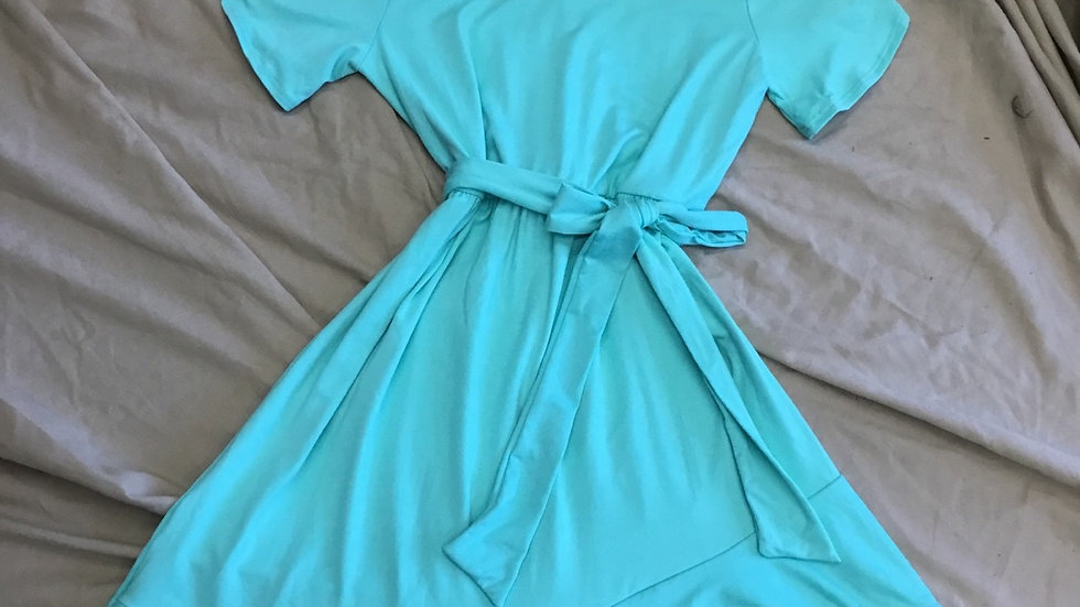 Mint Asymmetrical Hem Dress