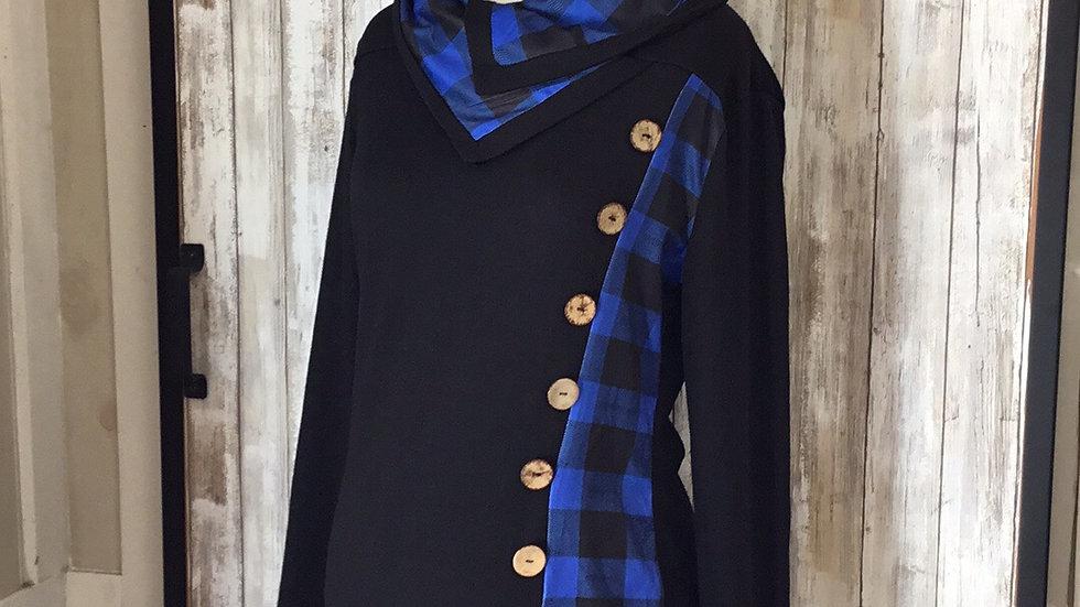 Buffalo Plaid Mid-length Non Nursing Tunic (Black,blue)