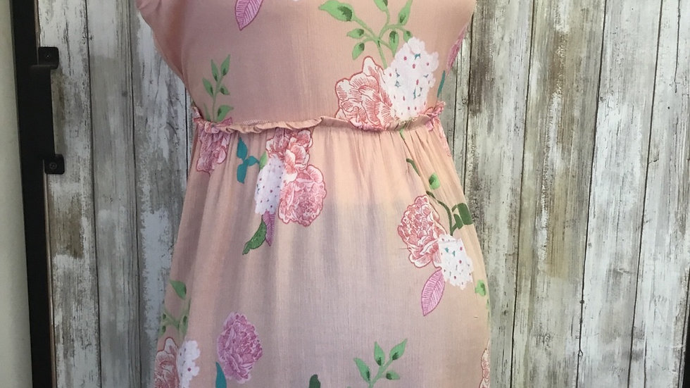 Pink Floral Gathered Top
