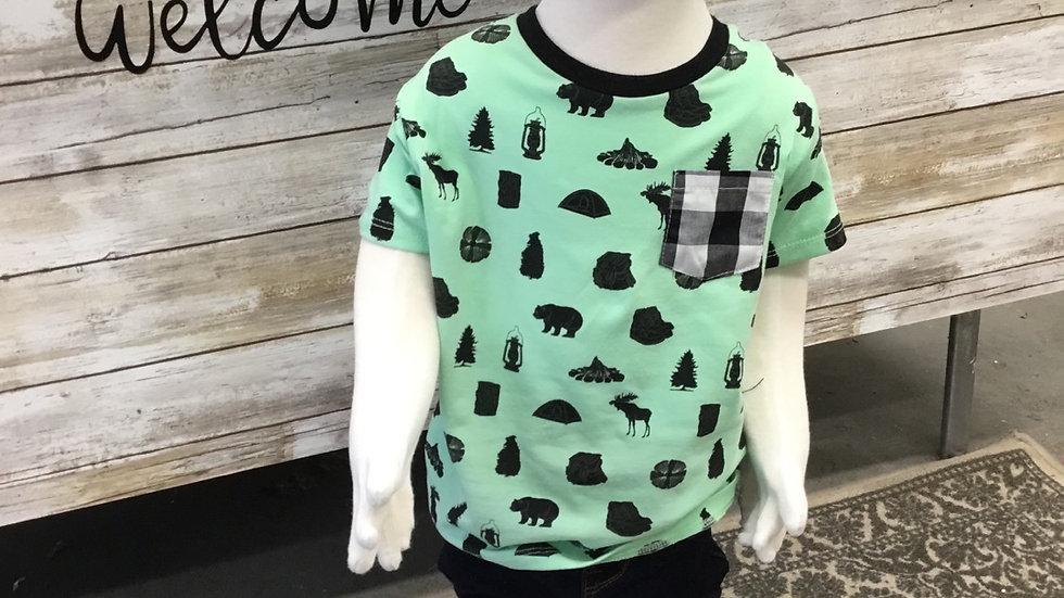 Toddler Boys Green and Black Bear Shirt