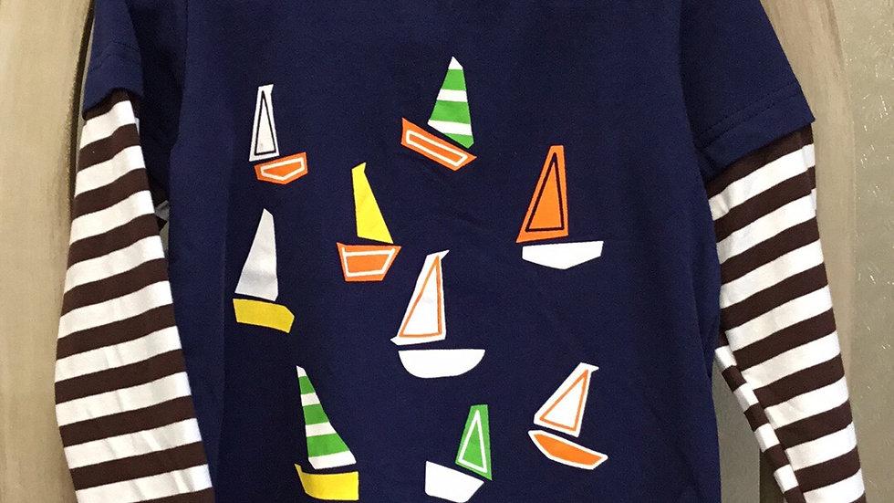 Boys Striped Navy Sailboats Shirt