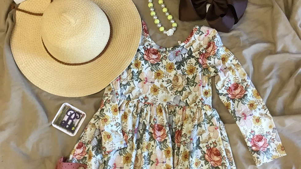 Vintage Floral Scoop Back Pocket Dress