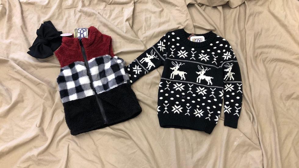 Boys Fair Isle Deer Pattern Sweater