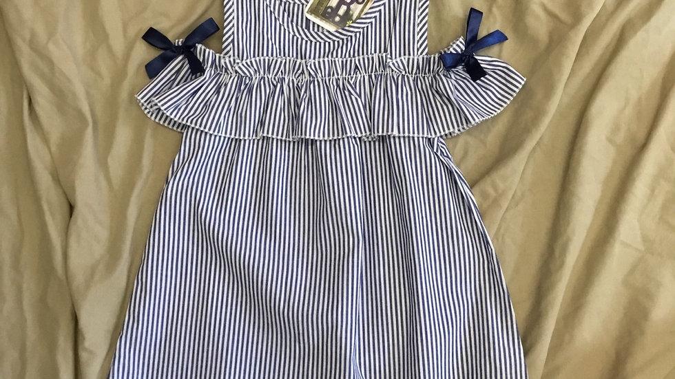 Peekaboo Shoulder Blue Stripped Dress