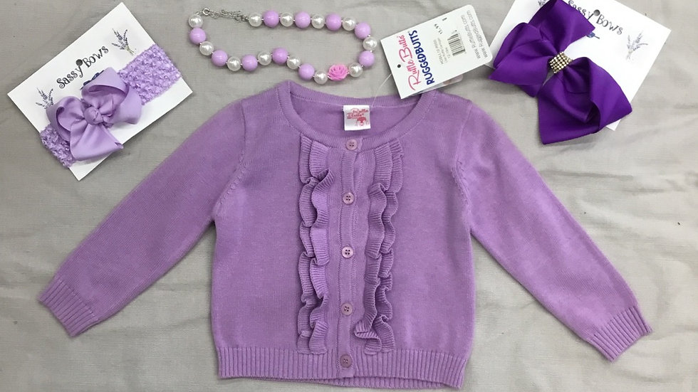 Deep Lilac Ruffle Sweater