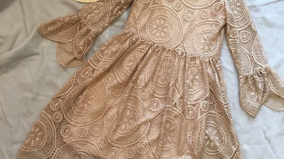 Victorian Vintage Lace Dress in Dark Champagne