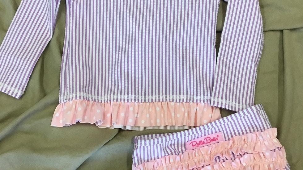 Lilac Seersucker Long Sleeve Rash Guard Bikini
