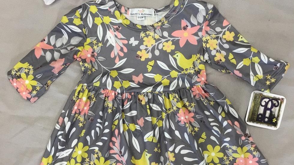 Gray Floral & Pheasant Print Dress