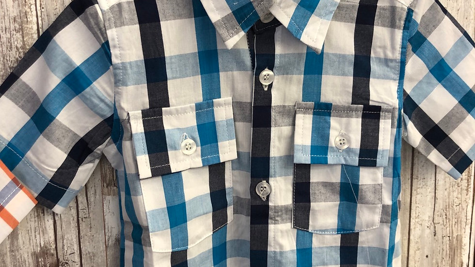 Toddler Boys Blue Plaid Shirt