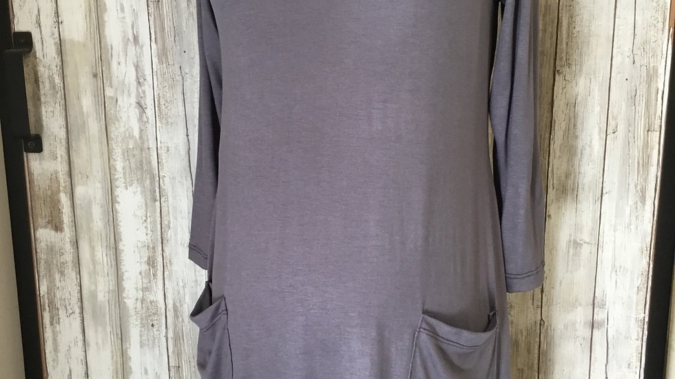 Gray Asymmetric Pocket Tunic