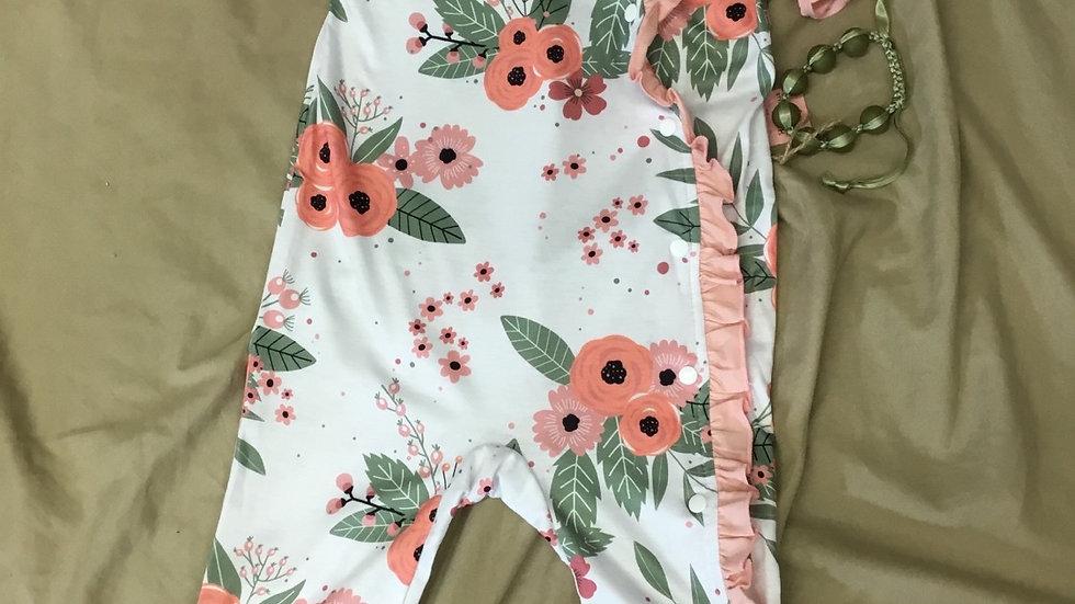 Pink Floral Ruffle Onsie