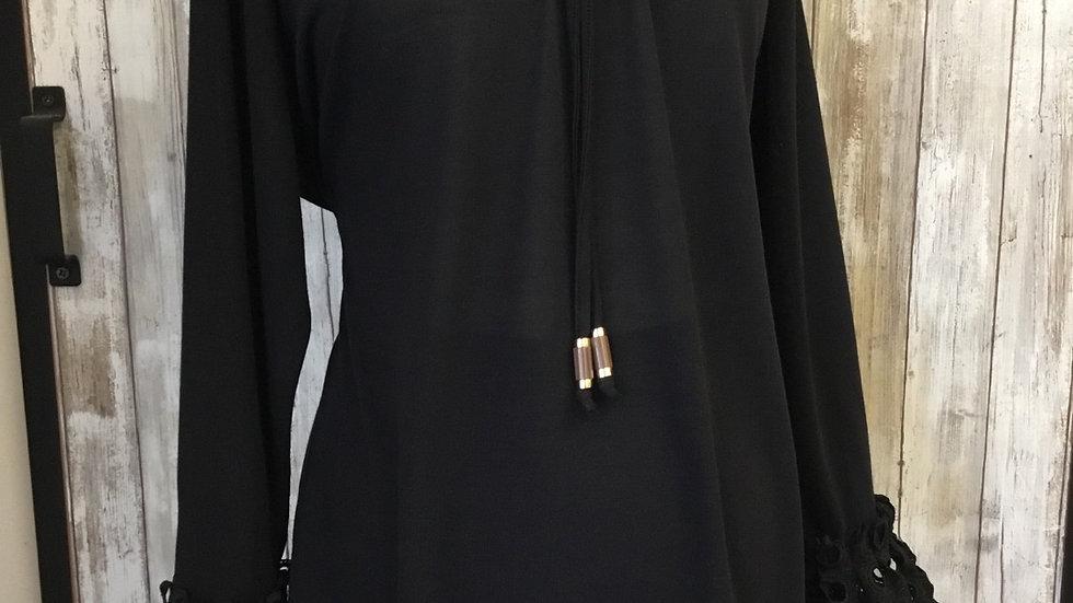 Eyelet Ruffle Bell Sleeve Shirt