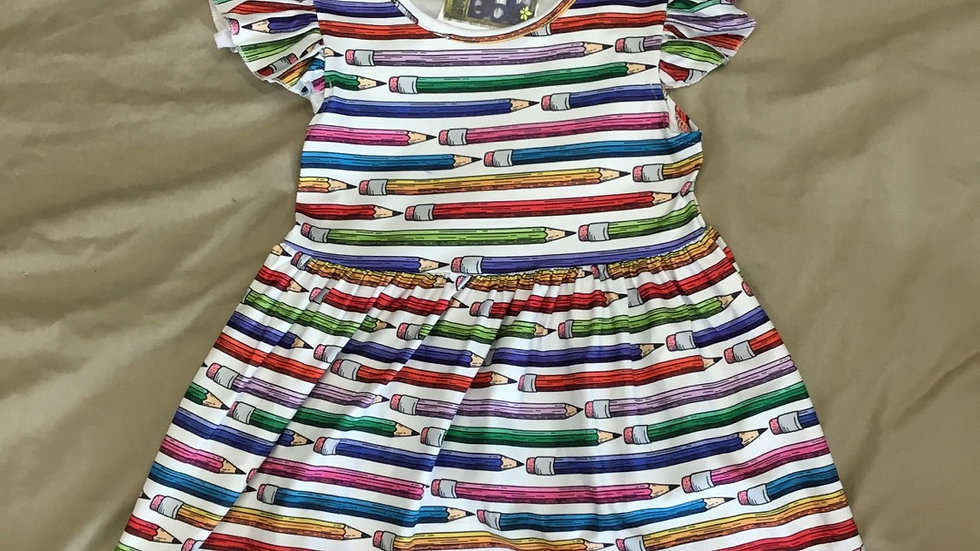 White Colorful Pencil Dress