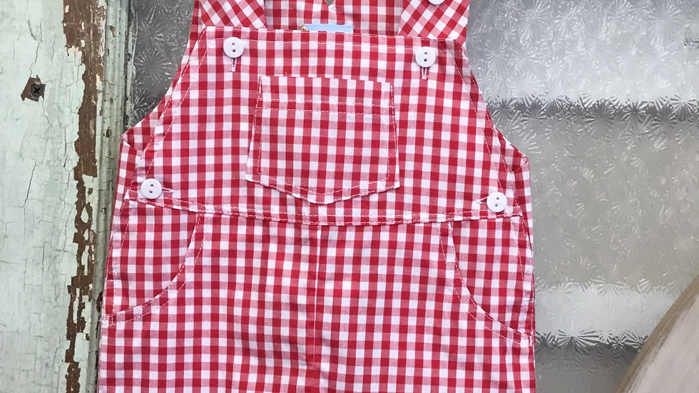Infant Boys Red Plaid Overall