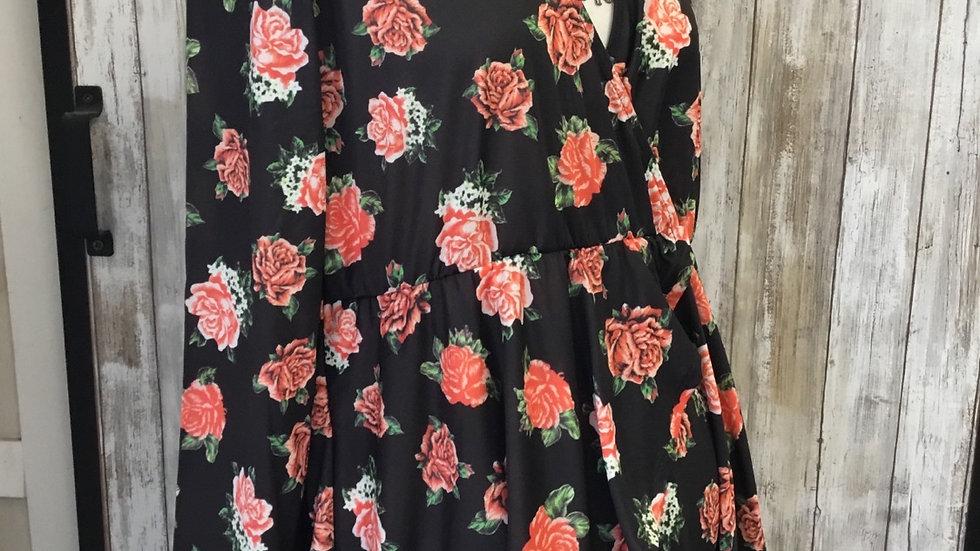 Black Roses Flowy Top