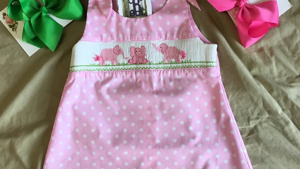 Smocked Elephants A-Line Dress