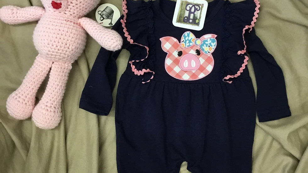 Plaid Pig Navy Romper