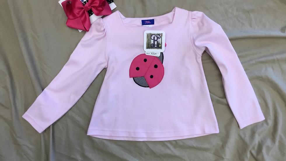 Pink Ladybug Appliqué Shirt