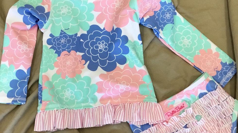 Pastel Petals Long Sleeve Rash Guard Bikini