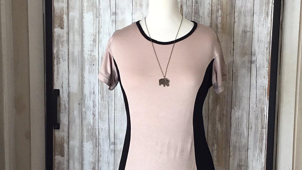 Sleek Tan and Black Short Sleeve Tie Back Non-Nursing, Soft Cotton (Med)