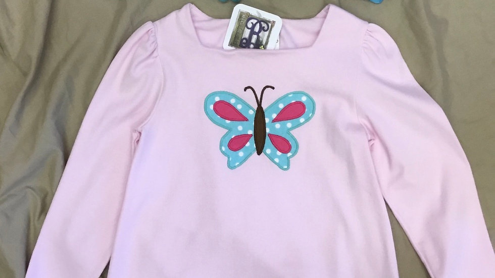 Pink Butterfly Appliqué Shirt