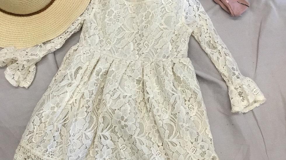 Aged Cream Lace Dress