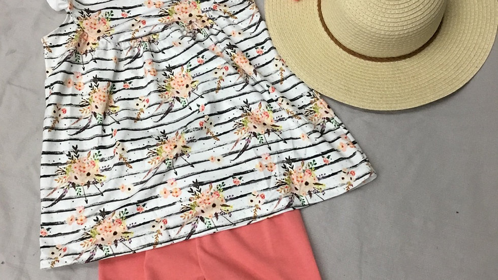Striped Floral Coral Bermuda Short Set