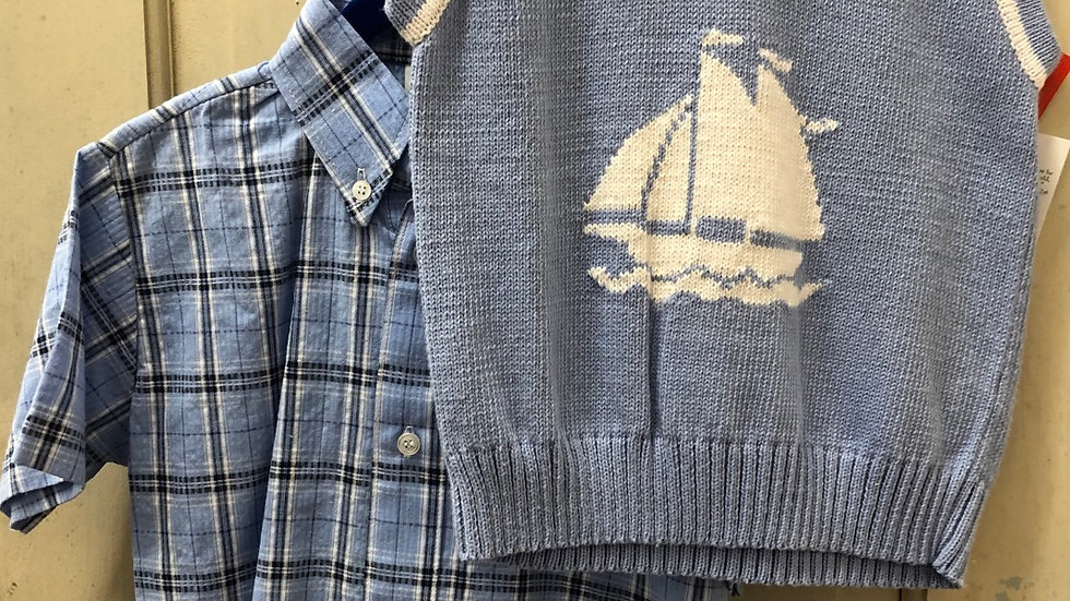 Boys Classic Blue Sailboat Vest and Plaid Shirt Combo