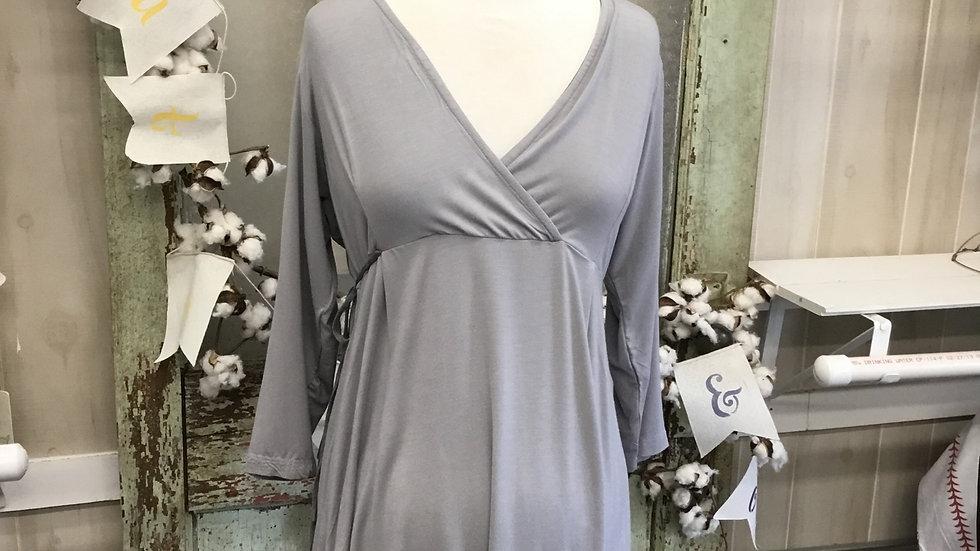Gray Tie Back Maternity/Nursing Top