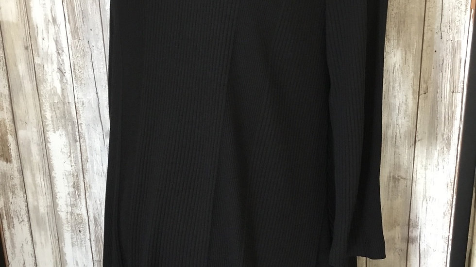 Black Asymmetric Ribbed Tunic