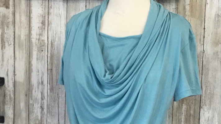Teal Drape Neck Maternity Top With Nursing Panel
