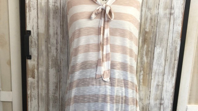 Sleeveless, soft cotton, Tan and White, Lace Trimmed Non-Nursing (L and XL)