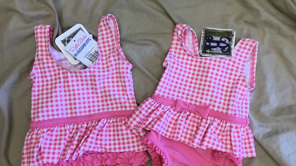 Ruffle Butts Rose Gingham Skirted One Piece