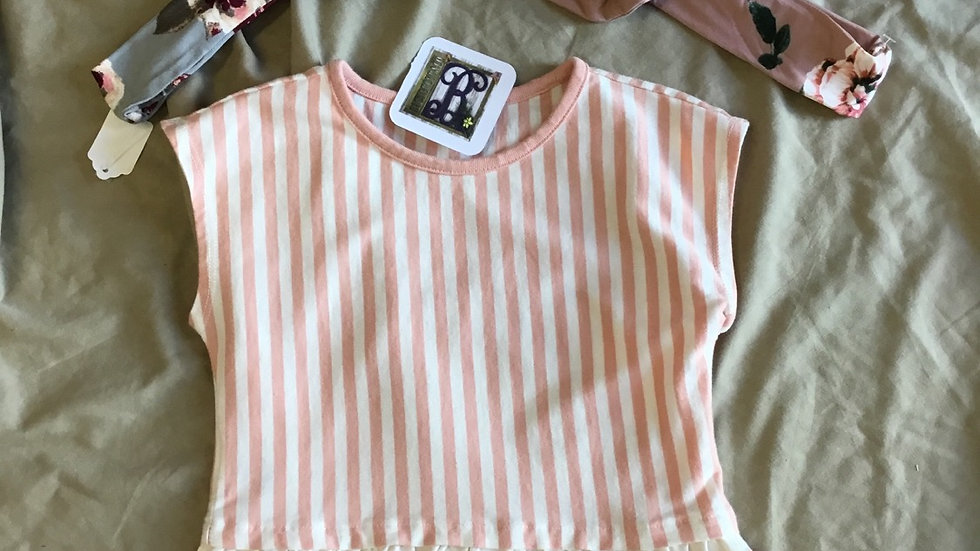 Peach Striped Ruffle Tee