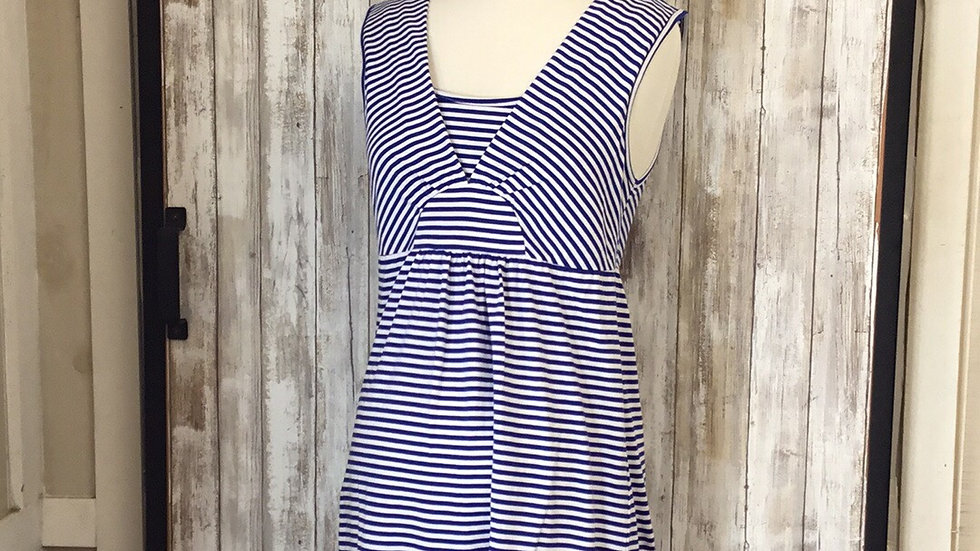 Soft Cotton Sleeveless Nautical Striped with Built In Nursing Panel (Med-Xl)