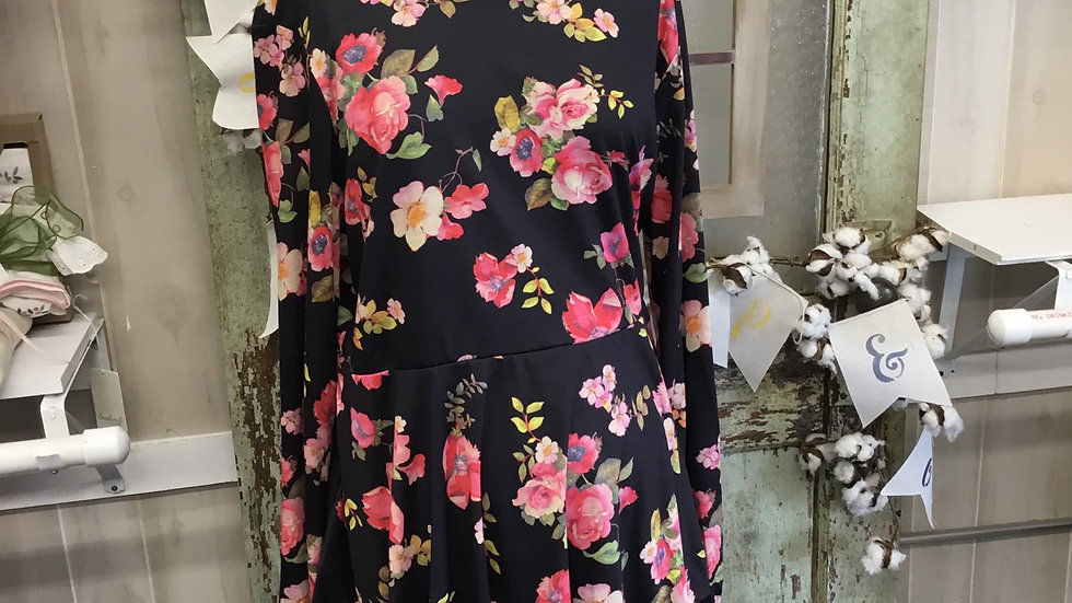 Black and Pink Floral maternity top