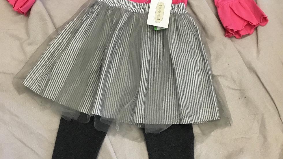Striped Overlay Skirt and Leggings