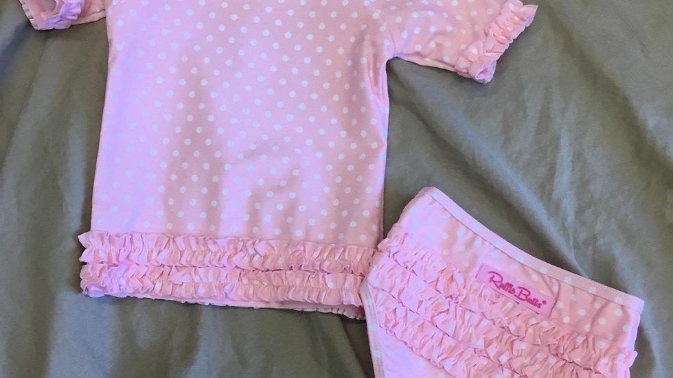 Ruffle Butts Pink Polka Dot Rash Guard Set
