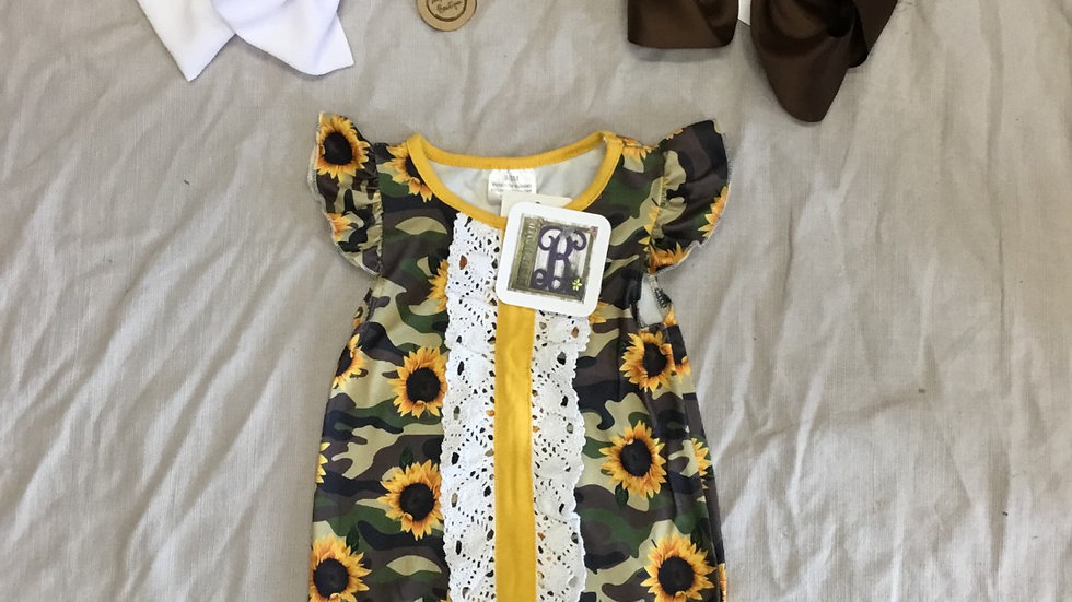 Camo Sunflower Romper