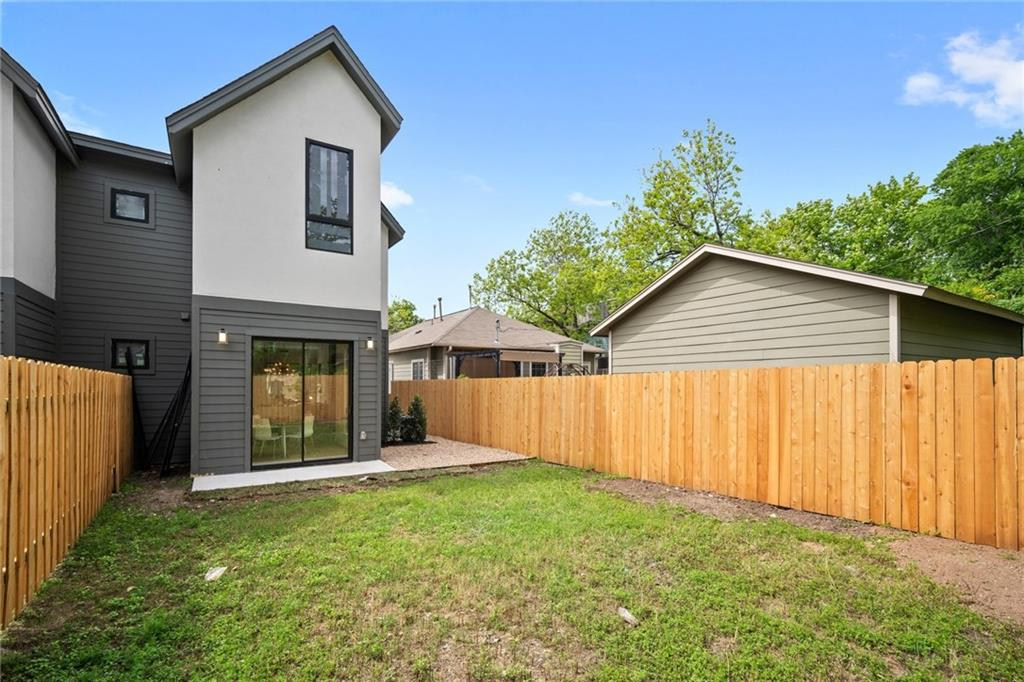 Fully Fenced in Backyard in the New Build on Grover Street in Austin, TX