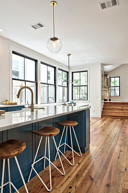 Pop of color in the historic home remodeled kitchen on West 11th in Austin, Texas