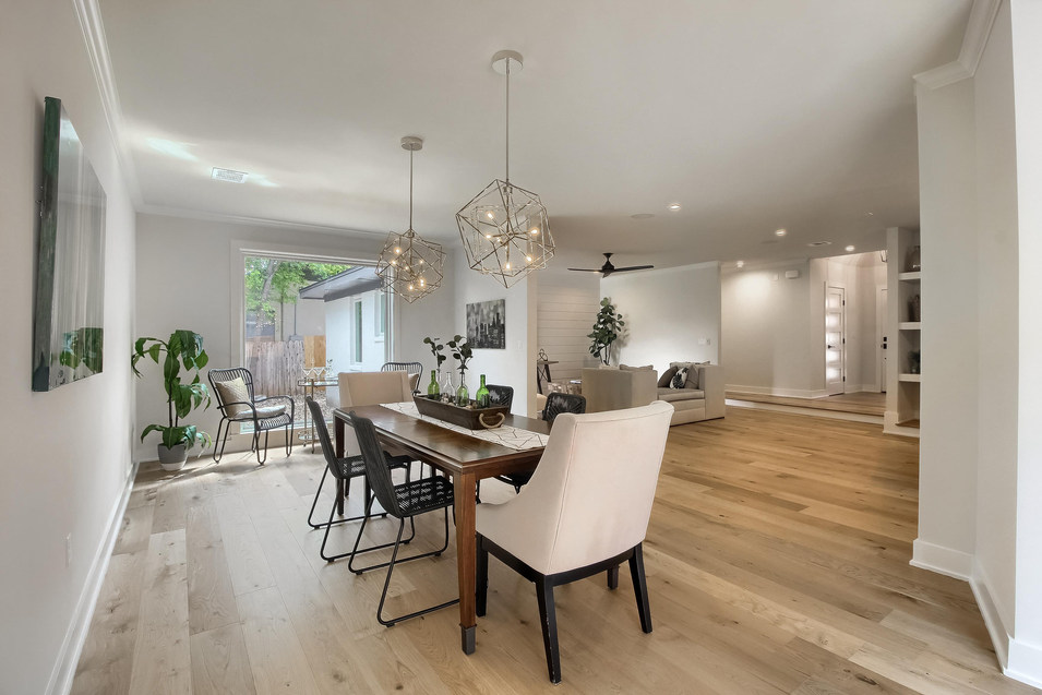 Home Renovation Breakfast Nook and Formal Dining Room on West 29th in Austin, Texas