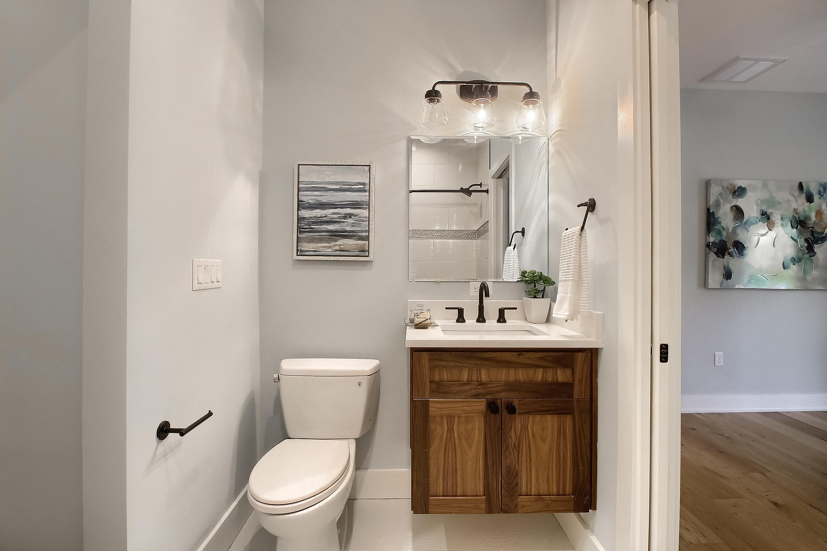 Home Renovation Bathroom Floating Sink on West 29th in Austin, Texas