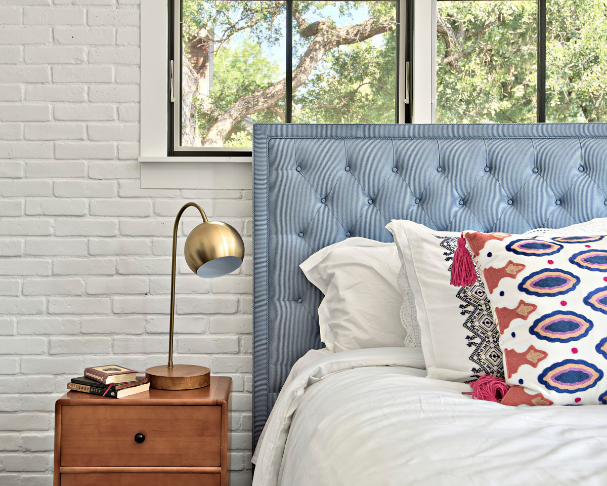 Historic Home Renovation Bedroom Brick Wall in West 11th in Austin, Texas